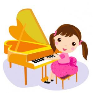 girl play the piano. cartoon vector illustration